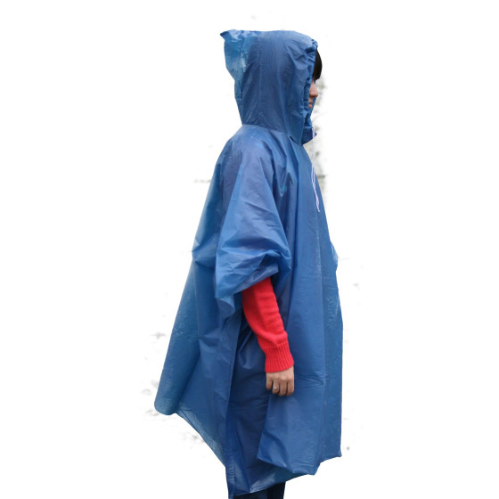 1 x Regenponcho mit Kaputze und Kordelzug blau