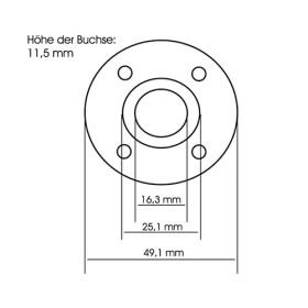 Kickertisch 4-Loch Nylon-Flanschlager