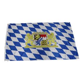 Flagge Bayern mit Wappen + Löwe 90 x 150 cm
