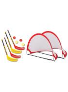 Bandito Funhockey Komplettset mit 2x2er Set Schläger und Pop-up Tor Mini-Set