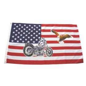 Flagge USA mit Bike / Chopper 90 x 150 cm