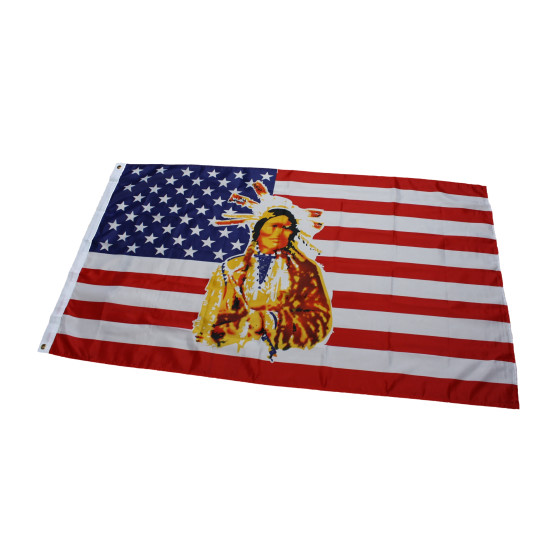 Flagge USA mit Indianer  90 x 150 cm