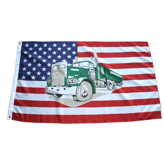 Flagge USA mit Truck/LKW  90 x 150 cm