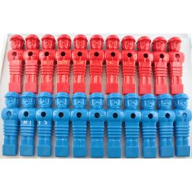 22 Kickerfiguren Löwen-Design, rot+blau, 16mm,...
