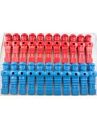 22 Kickerfiguren Löwen-Design, rot+blau, 16mm, Schrauben+Muttern