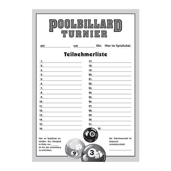 Teilnehmer-Liste Pool-Billard
