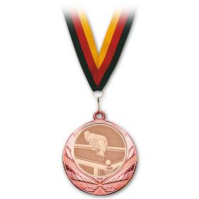 Medaille Pool-Billard bronze mit Band