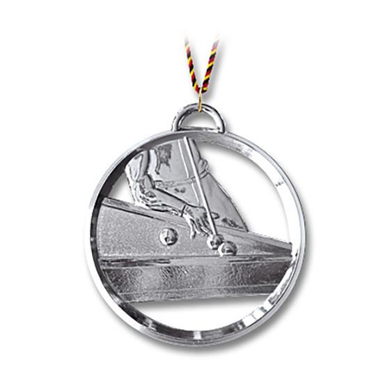 Billard-Medaille mit Kordel 8 cm silber