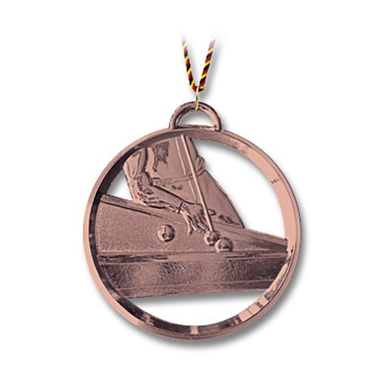 Billard-Medaille mit Kordel 8 cm bronze