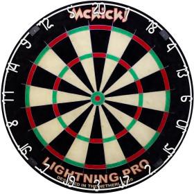 McKicks Lightning Pro Dartboard + 6 WA Steeldarts Black