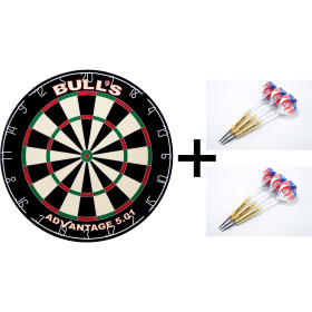 Bulls Advantage 501 Dartboard Dartscheibe + 6 WA...